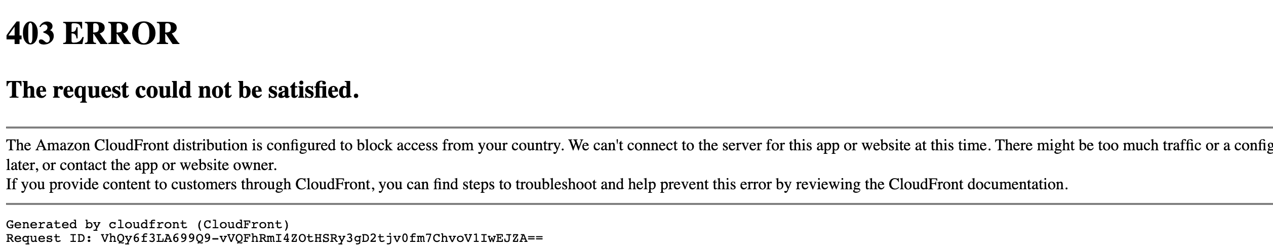 Geoblocking page from Amazon CloudFront<
